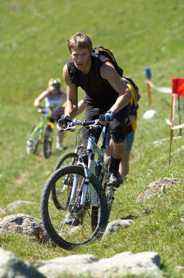 Bike Uphill stock photo