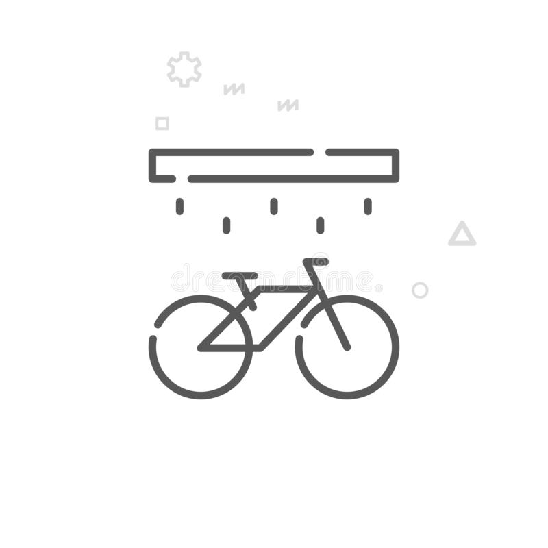 Bike Washing, Wash Station Vector Line Icon, Symbol, Pictogram, Sign. Abstract Geometric Background. Editable Stroke. Bike Washing, Wash Station Vector Line Icon stock illustration