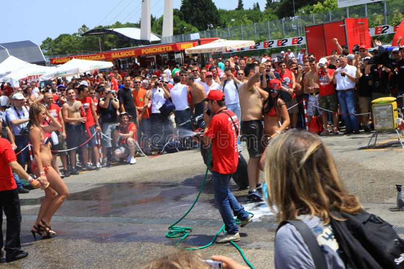 Bike washing at the World Ducati Week 2010 event royalty free stock photo