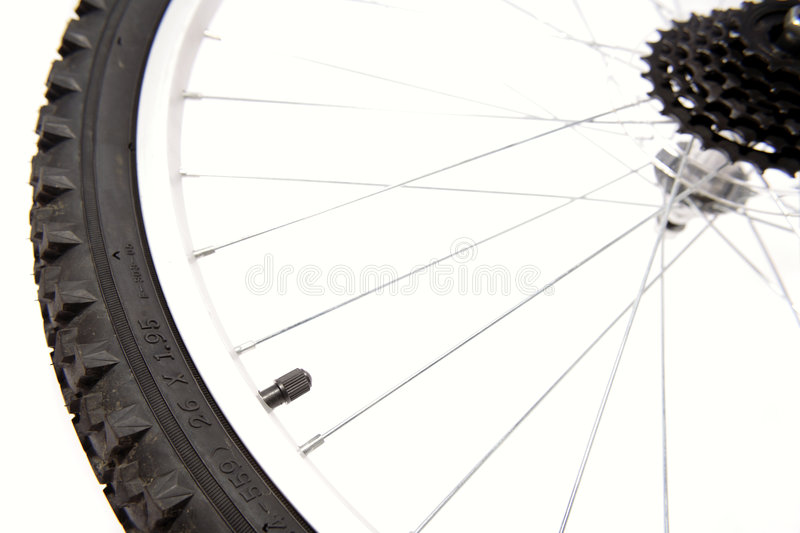 Bike wheel. On white background stock photos