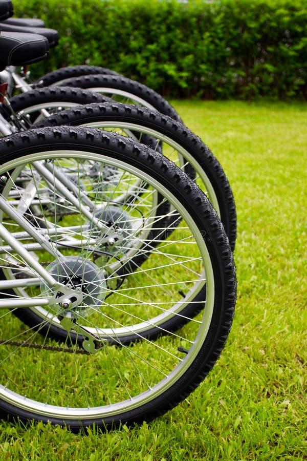 Bike wheels. Detail of some bike wheels stock photos