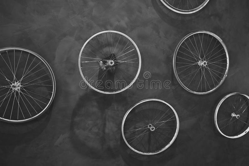Bike wheels - concepts and joint team effort royalty free stock photography
