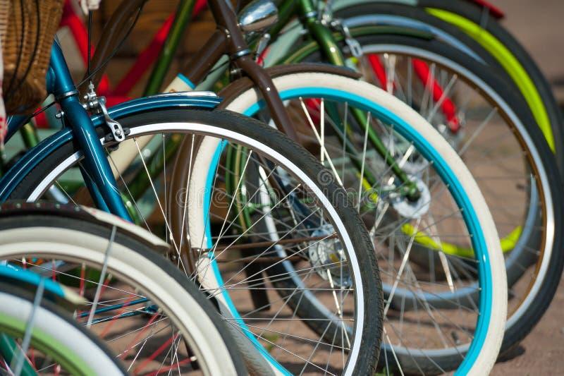 Bike wheels. A lot of bike wheels stock image