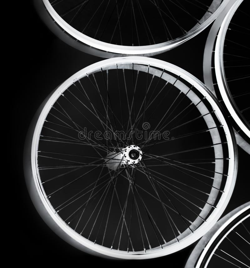 Bike wheels spinning royalty free stock images