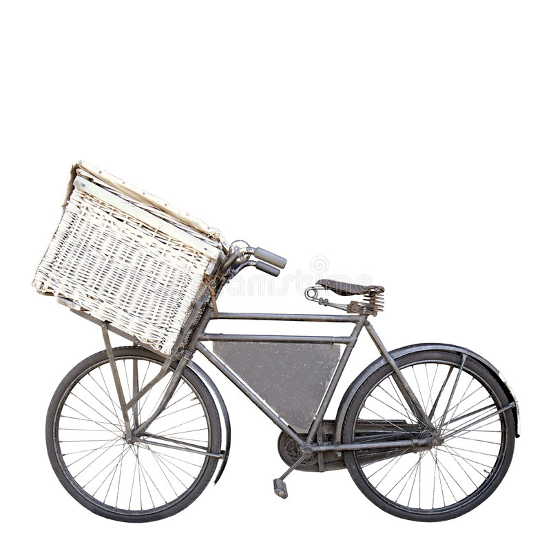Bike on white. Vintage rusty dutch old carrier bike with shopping basket isolated on white royalty free stock image