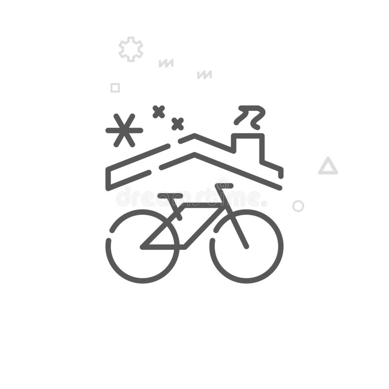 Bike Winter Storage Vector Line Icon, Symbol, Pictogram, Sign. Light Abstract Geometric Background. Editable Stroke. Bike Winter Storage Vector Line Icon vector illustration