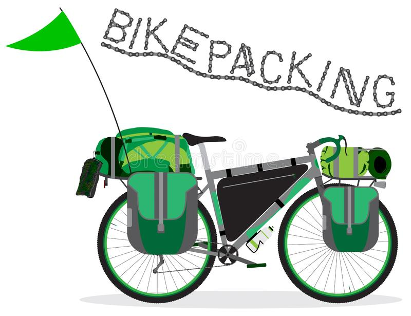 Bikepacking touring bicycle with camping bags. Vector illustration stock photo