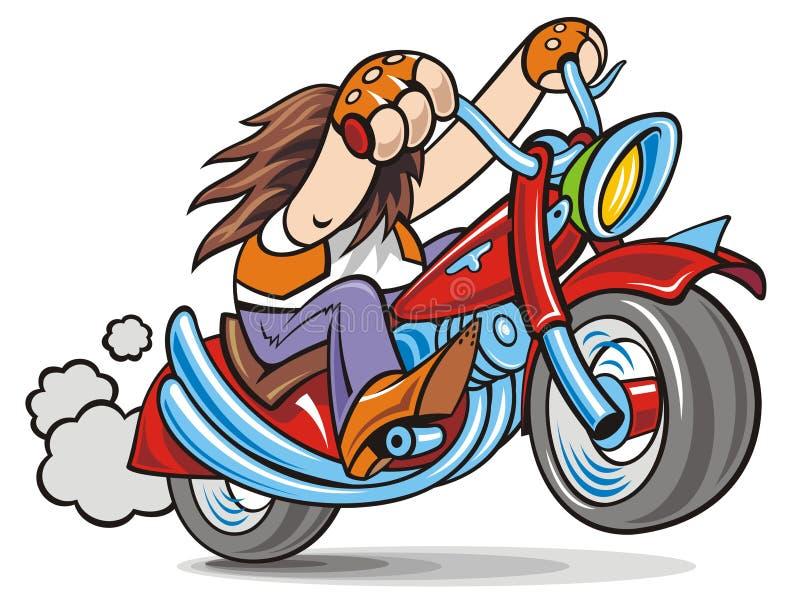 Biker. Fun long-hair biker on red bike stock illustration