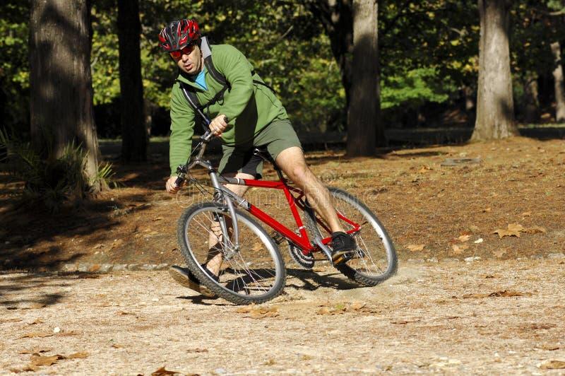 Biker in action stock image