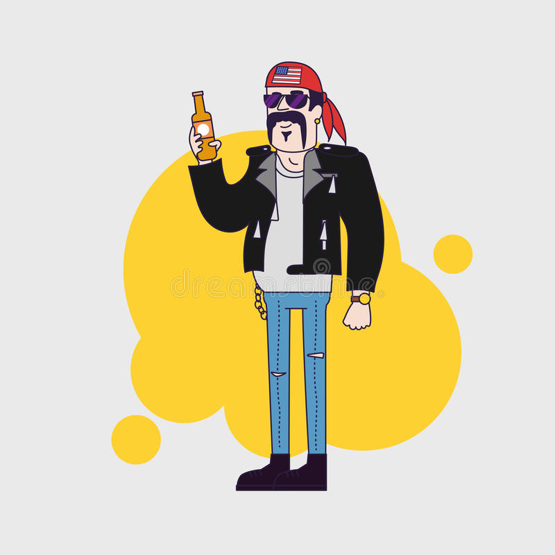 Character Design Parka : Biker character in sunglasses and leather jacket with beer