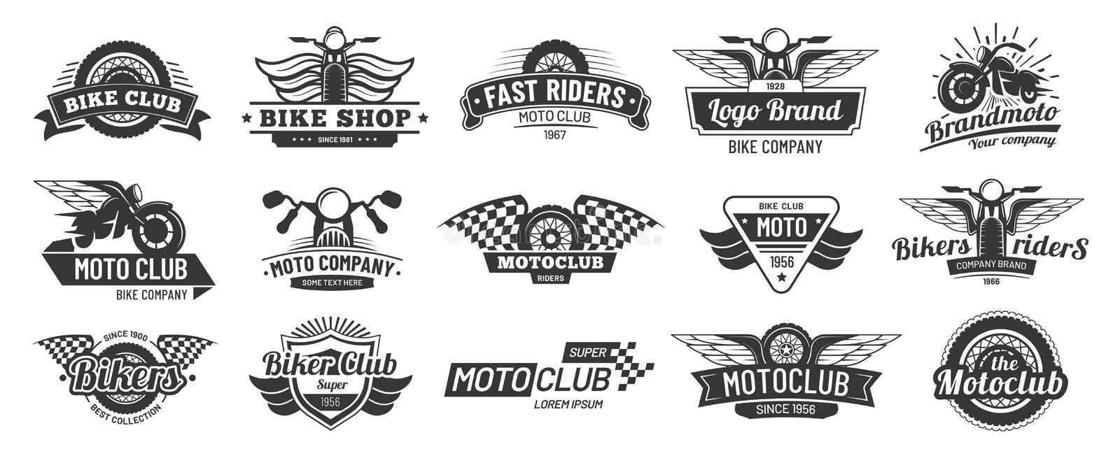 Biker club emblems. Retro motorcycle rider badges, moto sports emblem and motorbike silhouette badge vector set stock illustration