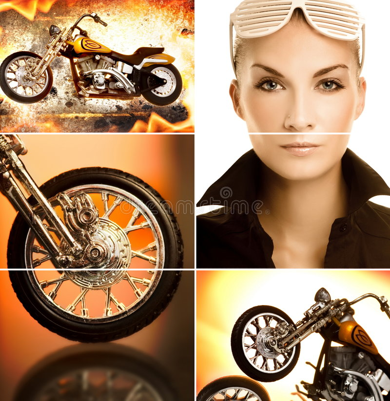Biker Collage Stock Photography