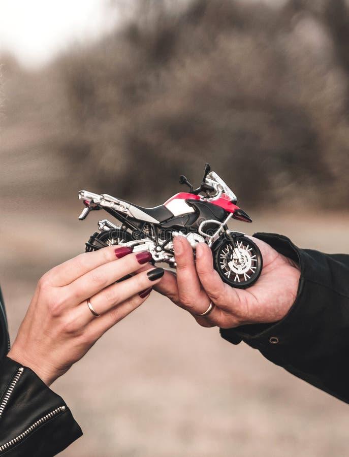 Biker Couple hands. royalty free stock photo