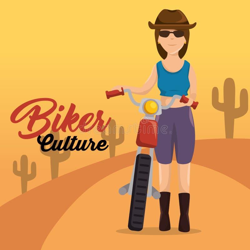 Biker culture biker woman riding motorbike. Vector illustration graphic design royalty free illustration