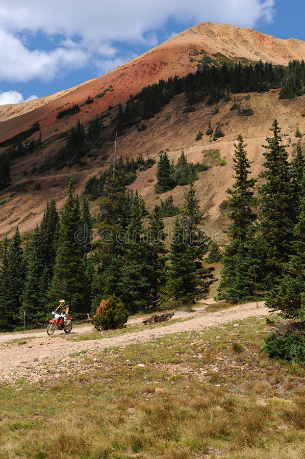 Riding Down Red Mountain royalty free stock photography