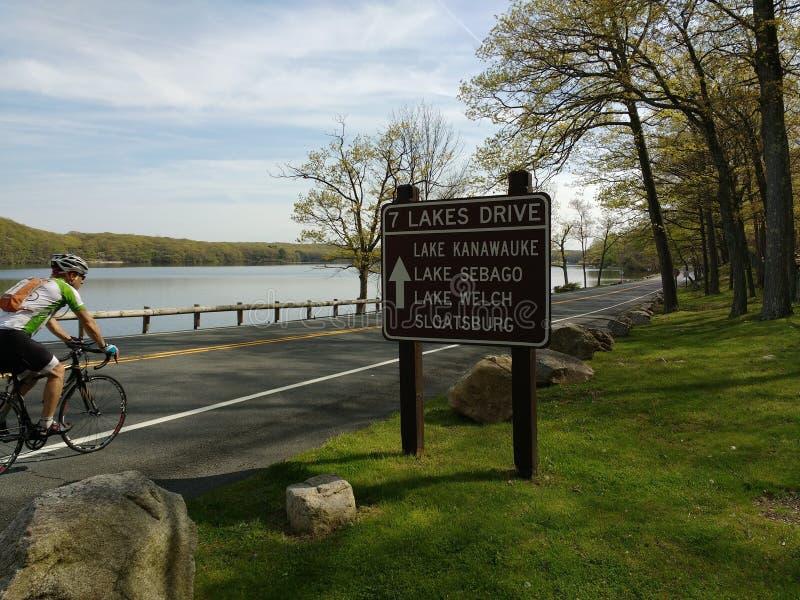 Biker Enjoying a Ride in Harriman State Park, New York, USA royalty free stock image