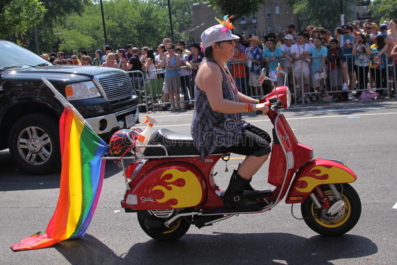 Download Biker with flag editorial stock image. Image of bisexual - 20064639