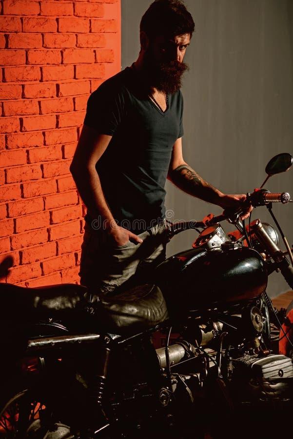 Biker forever. he is biker forever. bearded man became biker forever. biker forever concept. welcome to my place. Biker forever. he is biker forever. bearded royalty free stock photography