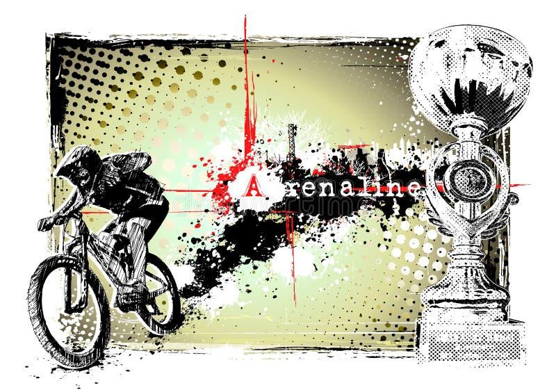 Biker frame. Illustration of a biker in the grungy background vector illustration