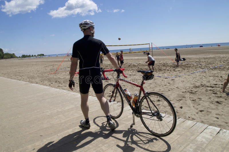 Biker at the front beach royalty free stock photo
