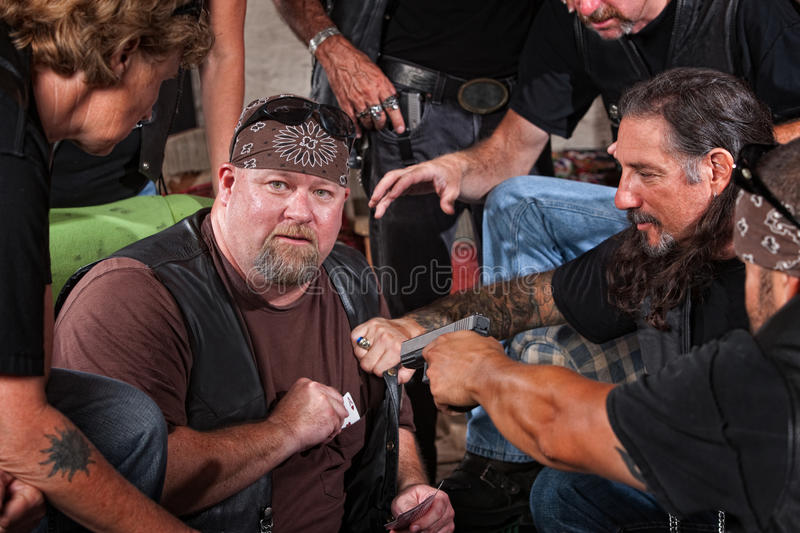 Biker Gang Member Caught Cheating stock photo