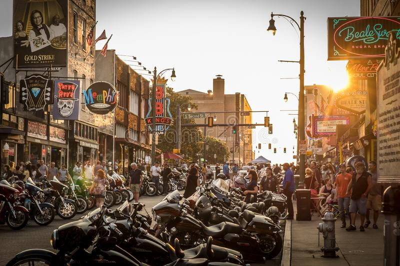 Biker gathering in Beale street, Memphis. Biker gathering at sunset in Beale street, Memphis, United States of America royalty free stock photography