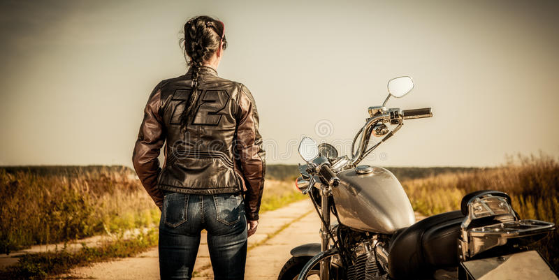 Biker girl stock images