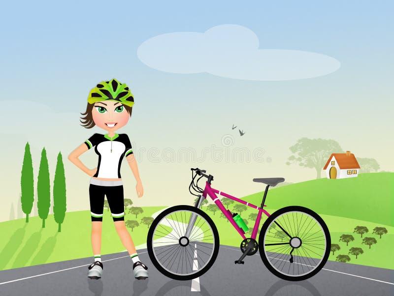 Biker girl in the countryside stock illustration