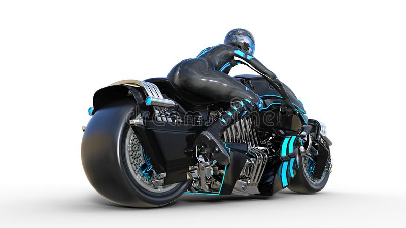 Biker girl with helmet riding a sci-fi bike, black futuristic motorcycle isolated on white background, rear view, 3D render vector illustration
