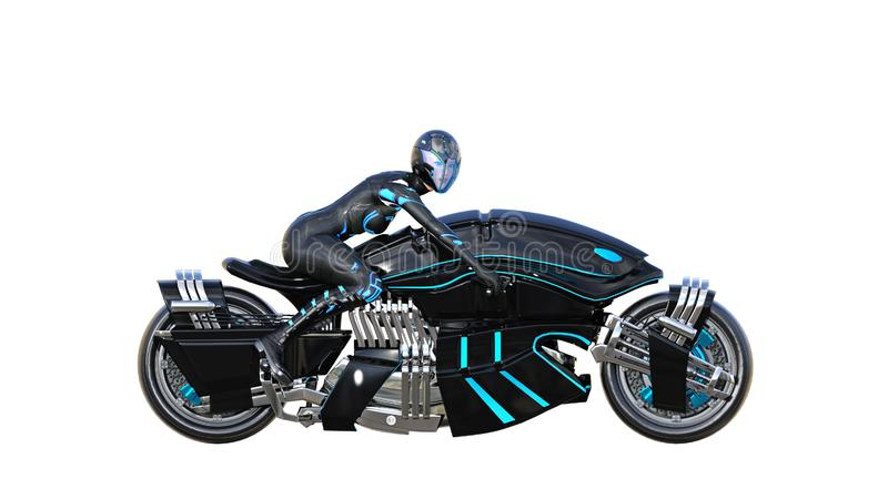 Biker girl with helmet riding a sci-fi bike, black futuristic motorcycle isolated on white background, side view, 3D render. Ing vector illustration