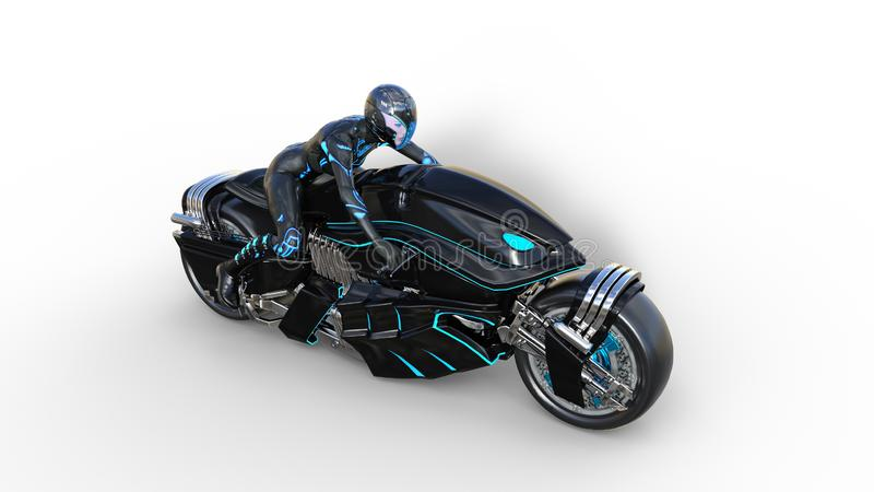 Biker girl with helmet riding a sci-fi bike, black futuristic motorcycle isolated on white background, top view, 3D render. Ing vector illustration