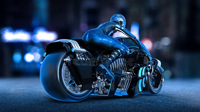 Biker girl with helmet riding a sci-fi bike, woman on black futuristic motorcycle in night city street, rear view, 3D render. Ing vector illustration