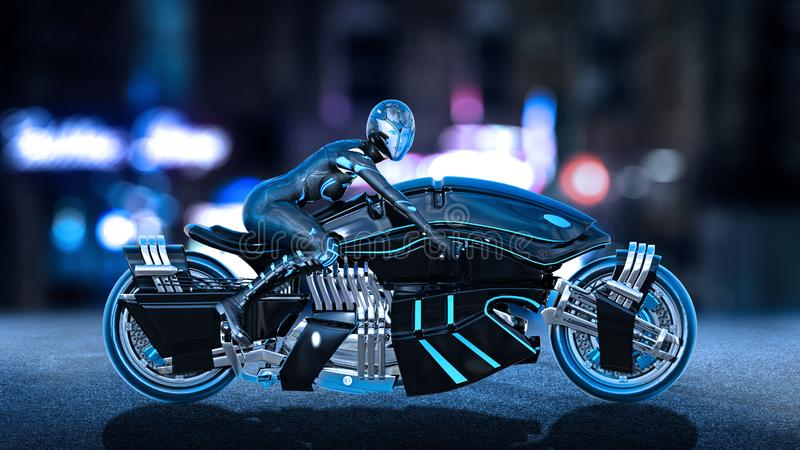 Biker girl with helmet riding a sci-fi bike, woman on black futuristic motorcycle in night city street, side view, 3D render. Ing royalty free illustration