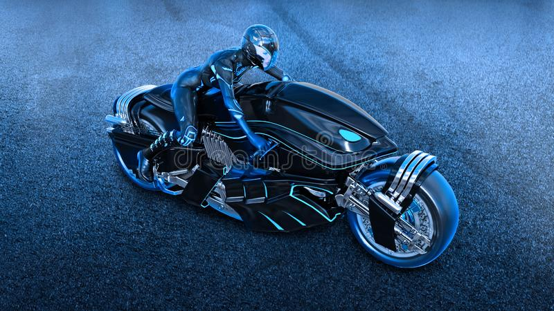 Biker girl with helmet riding a sci-fi bike, woman on black futuristic motorcycle in night city street, top view, 3D render. Ing vector illustration