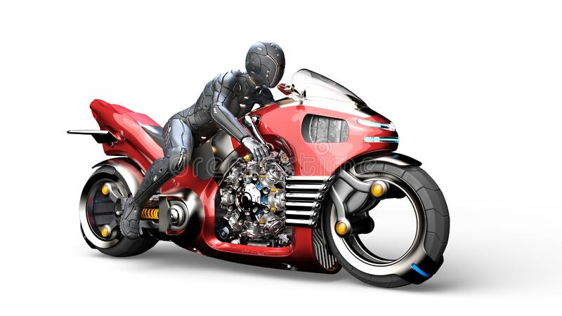 Biker girl with helmet riding a sci-fi bike, woman on red futuristic motorcycle isolated on white background, 3D render. Ing royalty free illustration