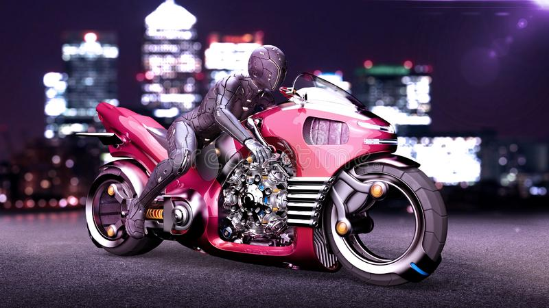 Biker girl with helmet riding a sci-fi bike, woman on red futuristic motorcycle in night city street, 3D render. Ing stock illustration