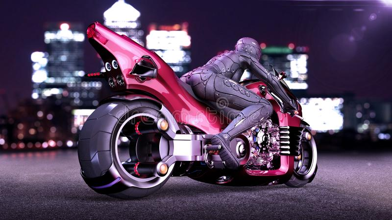 Biker girl with helmet riding a sci-fi bike, woman on red futuristic motorcycle in night city street, rear view, 3D render. Ing vector illustration