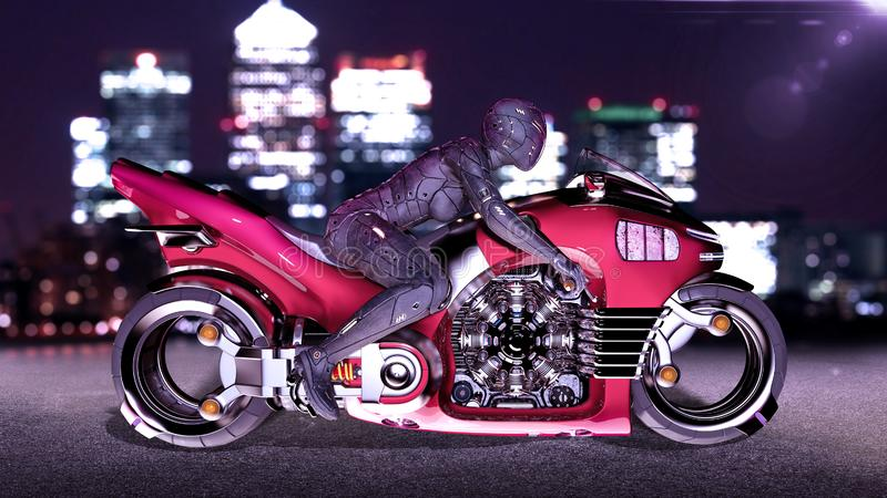 Biker girl with helmet riding a sci-fi bike, woman on red futuristic motorcycle in night city street, side view, 3D render. Ing vector illustration