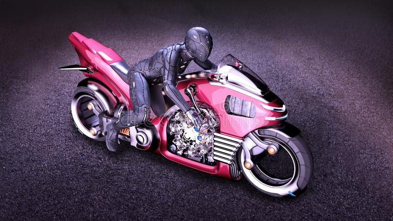 Biker girl with helmet riding a sci-fi bike, woman on red futuristic motorcycle in night city street, top view, 3D render. Ing royalty free illustration