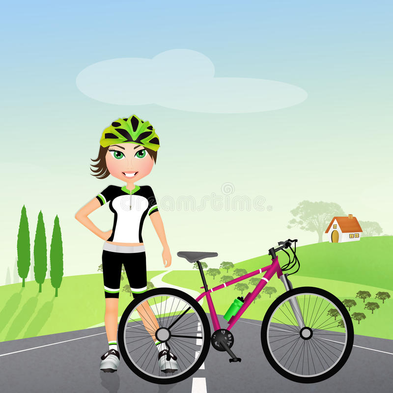 Biker girl in nature royalty free illustration