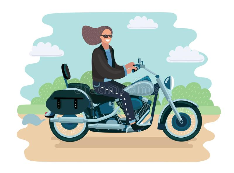 Biker girl on retro motorcycle vector illustration. Vector cartoon illustration of Biker girl on retro motorcycle. Pretty woman in glasses and jacket ride on stock illustration