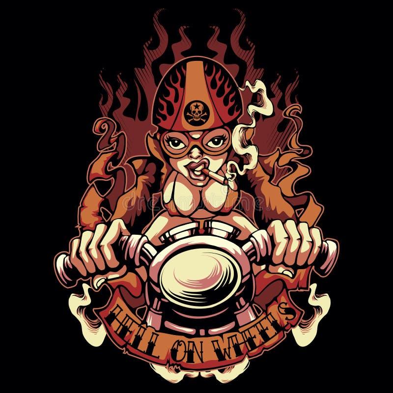 Biker Girl. T-shirt or poster print design