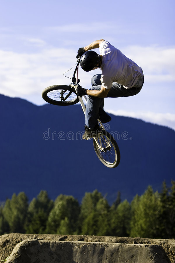 Biker jump sequence royalty free stock images