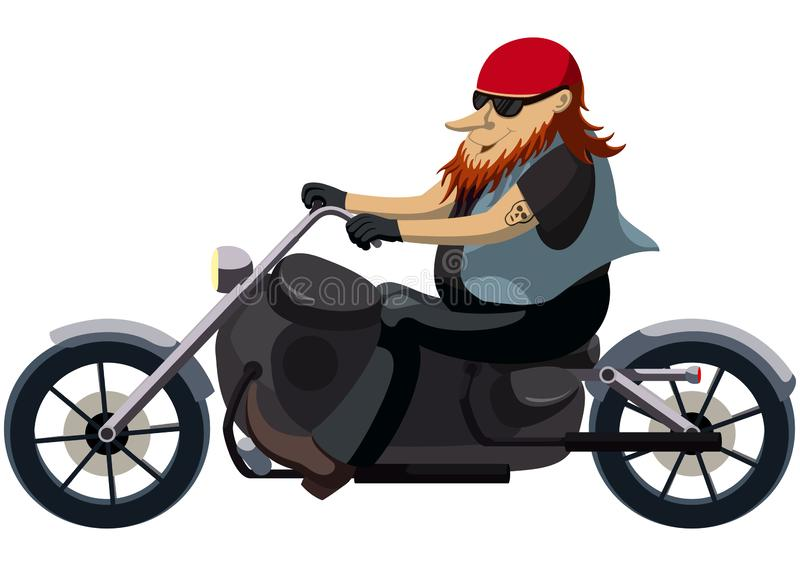 Biker on a motorcycle chopper stock illustration