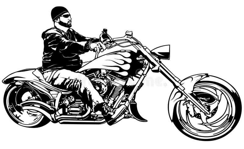 Biker on Motorcycle from Profile. Black and White Illustration with Rider on Harley Motorcycle, Vector royalty free illustration