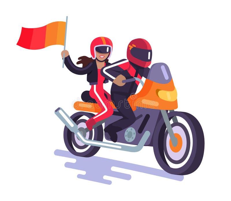 Biker on Orange Vehicle with His Girlfriend Banner. Biker on orange vehicle and his girlfriend isolated color banner, white background vector illustration of stock illustration