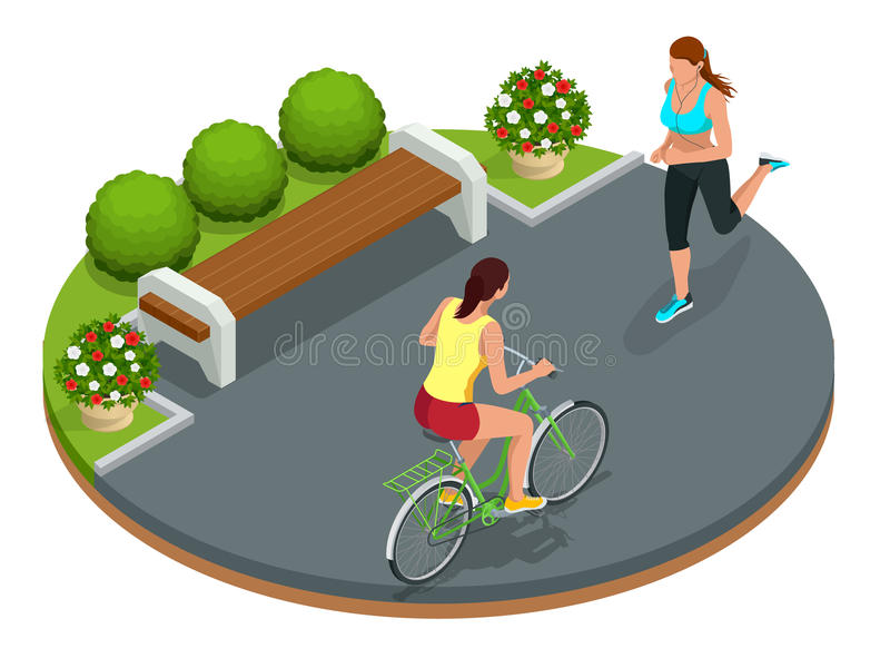 Biker in park, woman running Cycling on bike path. Weekend excursion on their bikes on summer day. Flat 3d vector. Isometric illustration. People riding bikes royalty free illustration