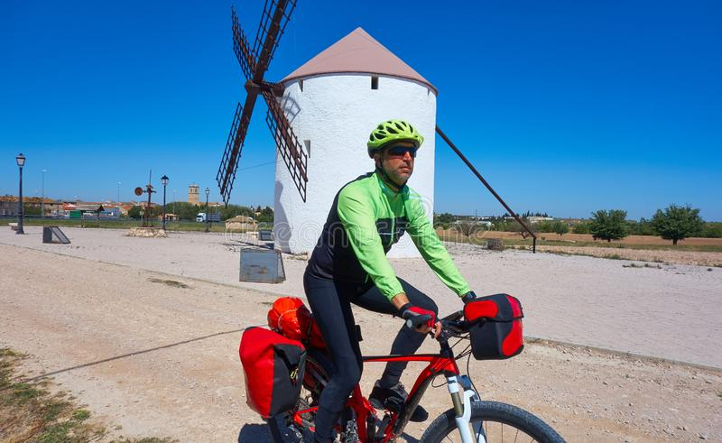 Biker pilgrim by Camino de Santiago stock photography