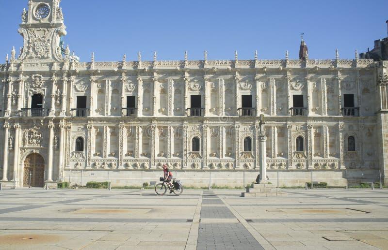 Biker pilgrim of Camino de Santiago at Leon city, Spain royalty free stock images