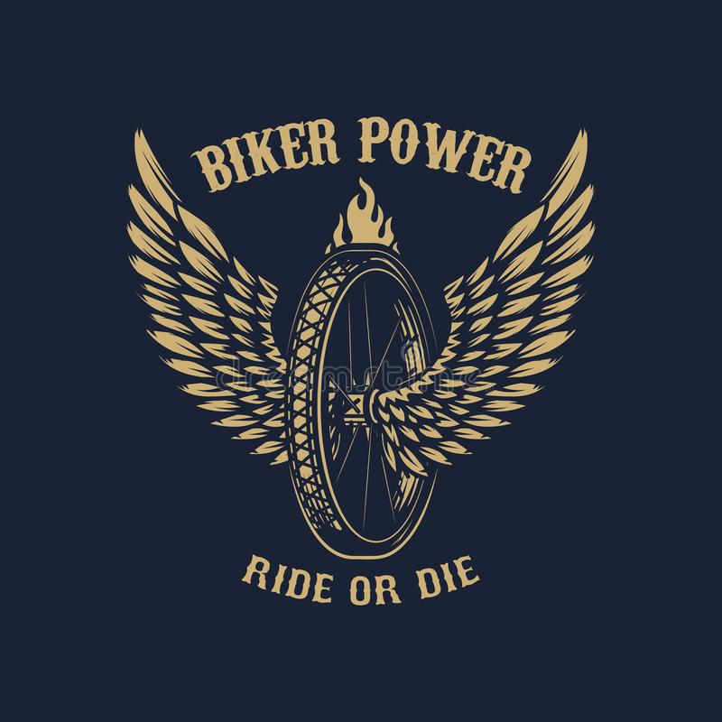 Biker power. Winged wheel on dark background. Design element for poster, emblem, sign, t shirt. royalty free illustration